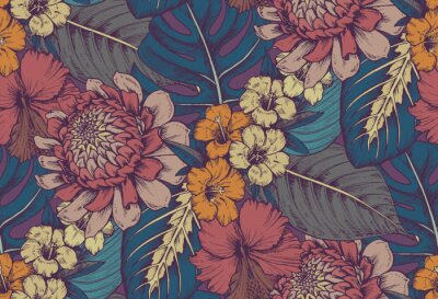 Sticker Vector seamless pattern with compositions of hand drawn tropical flowers