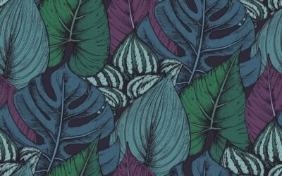 Sticker Vector seamless pattern with compositions of hand drawn tropical plants