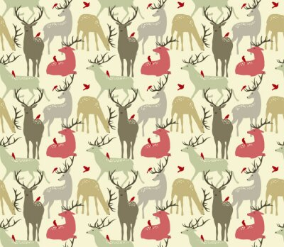 Sticker vector seamless pattern with  deers and birds