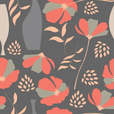 Sticker Vector seamless pattern with floral elements, spring flowers, po