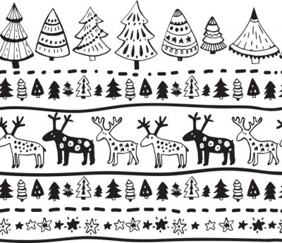Sticker Vector seamless pattern with hand drawn christmas elements
