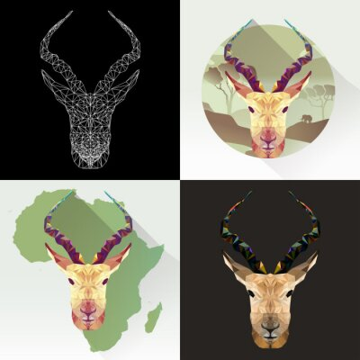 Sticker Vector set animal for tattoo, coloring, wallpaper, poster and printing on t-shirts. Antelope abstract image. Gazelle animal in polygon shape. Springbok mammal. Antelope low poly silhouette.