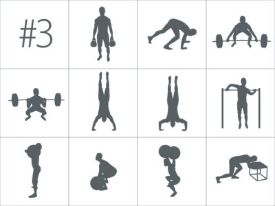 Sticker Vector silhouettes of people doing fitness and crossfit workouts