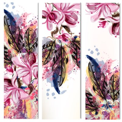 Sticker Vector vertical brochures set with magnolia flowers and feathers