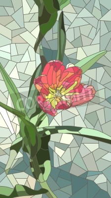 Sticker Vector vertical mosaic with large cells of red tulip flowers on green.