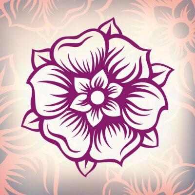 Sticker vector  vintage Baroque engraving flower