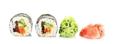 Sticker Vegetarian sushi rolls isolated on white