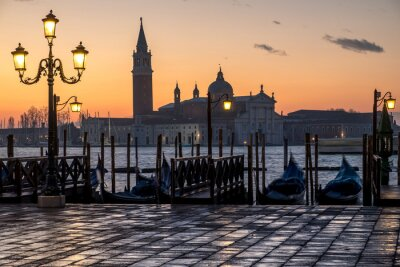 Sticker Venezia, alba e chiesa di  S. Giorgio