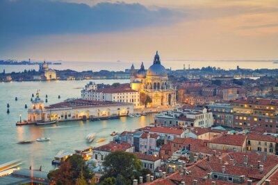 Sticker Venice. Aerial view of the Venice with Basilica di Santa Maria della Salute taken from St. Mark's Campanile.