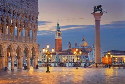 Sticker Venice. Image of St. Mark's square in Venice during sunrise.