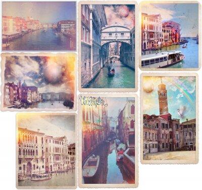 Sticker Venice - old fashioned postcards collage