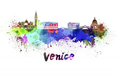 Sticker Venice skyline in watercolor