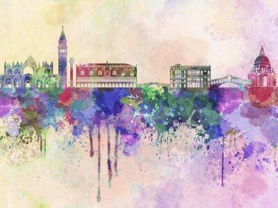 Sticker Venice skyline in watercolor background
