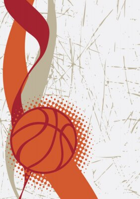 Sticker Vertical basketball poster.Abstract background