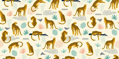 Sticker Vestor seamless pattern with leopards and tropical leaves.