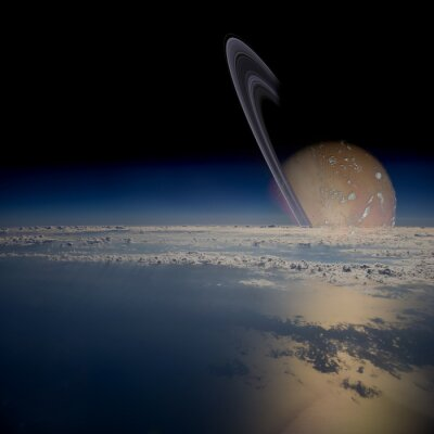 Sticker View from a satellite in orbit around a ringed planet.