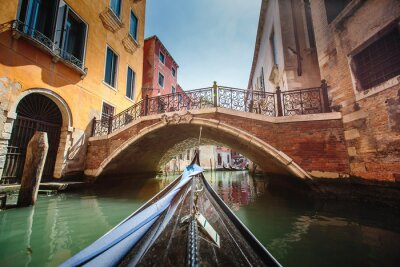 Sticker View from gondola during the ride through the canals of Venice i