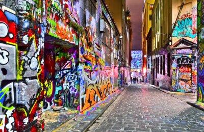Sticker View of colorful graffiti artwork at Hosier Lane in Melbourne