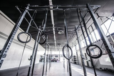 Sticker view of crossfit gym with sun