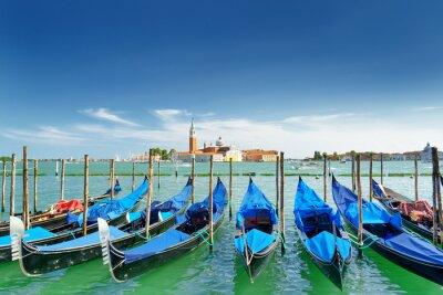 Sticker View of gondolas on the Venetian Lagoon, Venice, Italy