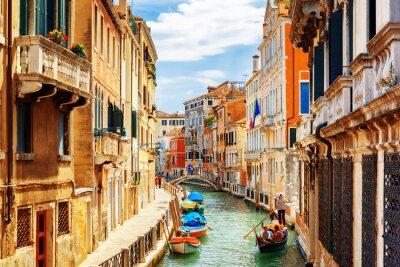 Sticker View of the Rio Marin Canal from the Ponte de la Bergami. Venice