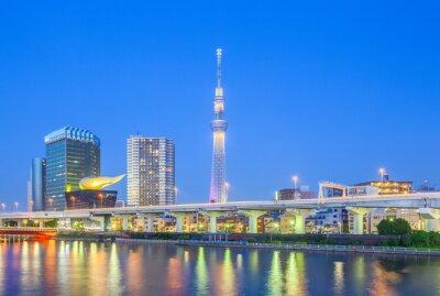 Sticker View of Tokyo Skytree landmark and Sumida river at night.