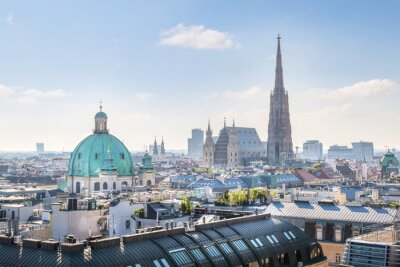 Sticker View over Vienna Skyline with St. Stephen's Cathedral at morning, Vienna, Austria