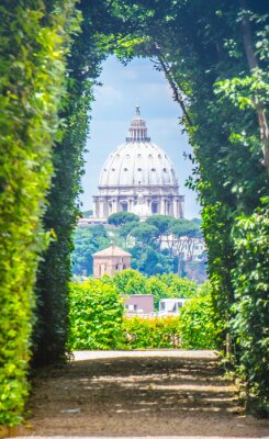 Sticker View through keyhole of maltese knights portal with saint peters basilica at the end