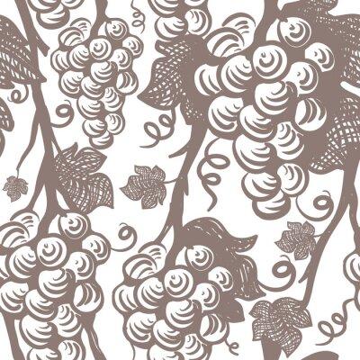 Sticker Vine Seamless Pattern. Grapes.