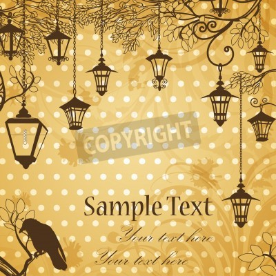 Sticker Vintage background with tree branches and retro street lamps
