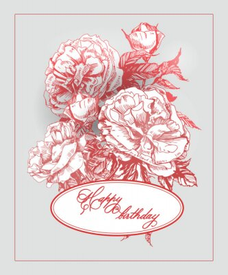 Sticker Vintage  Birthday card with  blooming rose and  butterflies. (Use for Boarding Pass, birthday card, invitations, thank you card.) Vector illustration.