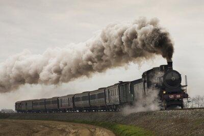 Sticker vintage black steam train