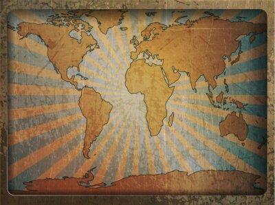 Sticker Vintage card world map