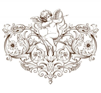 Sticker Vintage decorative element engraving with Baroque ornament pattern and cupid