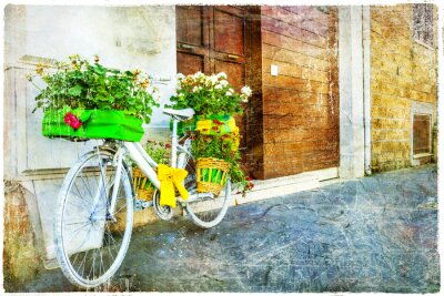 Sticker vintage floral bike - charming street decoration
