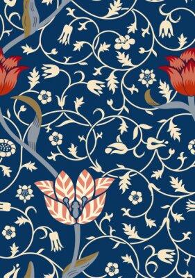 Sticker Vintage floral seamless pattern on dark background. Vector illustration.