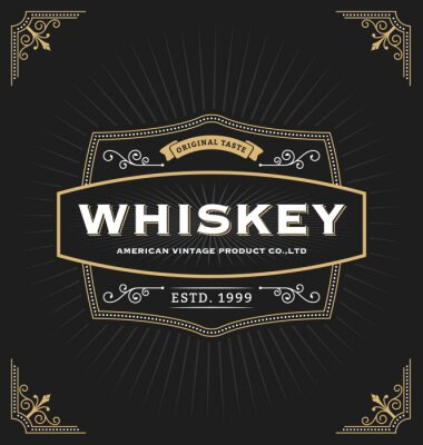 Sticker Vintage frame design for labels, banner, logo, emblem, menu, sticker and other design. Suitable for whiskey, beer, coffee shop, hotel, resort, jewelery and premium product. All type use free font.
