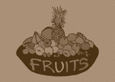 Sticker Vintage fruits basket