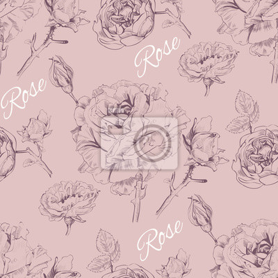 Sticker Vintage graphic rose seamless pattern.Background design for rose cosmetics, flower store, beauty salon, natural and organic products. Vector illustration