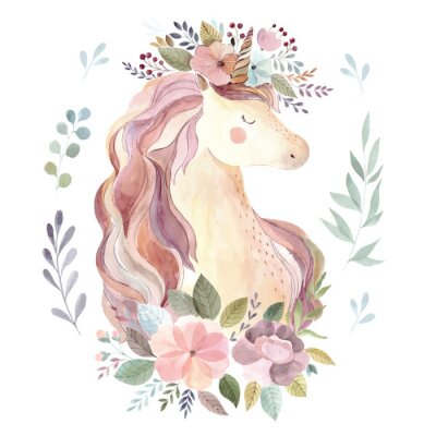 Sticker Vintage illustration with cute unicorn and floral wreath