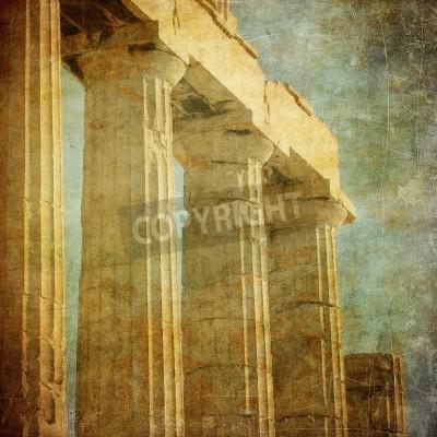 Sticker Vintage image of greek columns, Acropolis, Athens, Greece