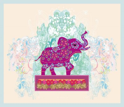 Sticker Vintage Indian ornament with an elephant