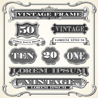 Sticker Vintage Labels, Frames and Ornaments