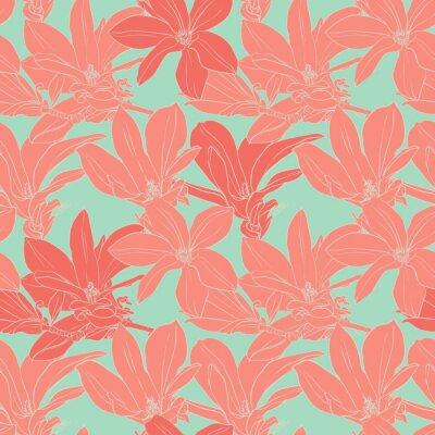 Sticker Vintage magnolia flowers seamless pattern.