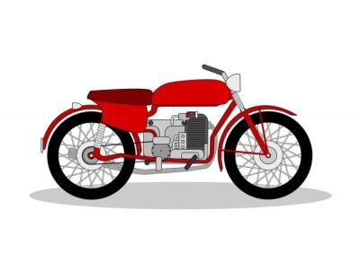 Sticker vintage motorbike illustration on white