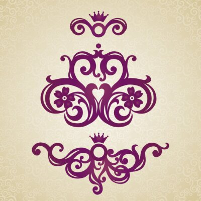 Sticker Vintage ornate pattern with place for your text.