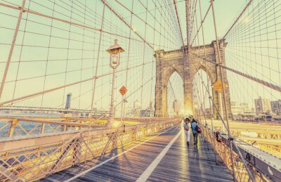 Sticker Vintage photo of Brooklyn Bridge in New York City