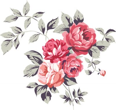 Sticker Vintage Pink Roses