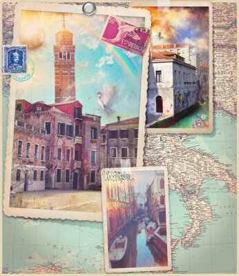 Sticker Vintage postcards and collage of Venice city