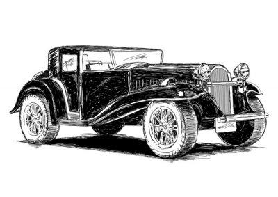 Sticker Vintage Retro Classic Old Car Vector Illustration